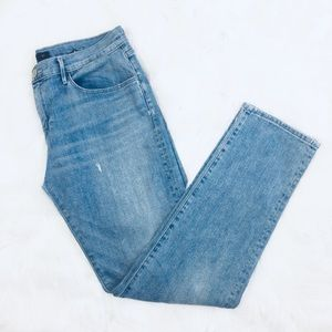 3X1 High Wasted Distressed Straight Jeans